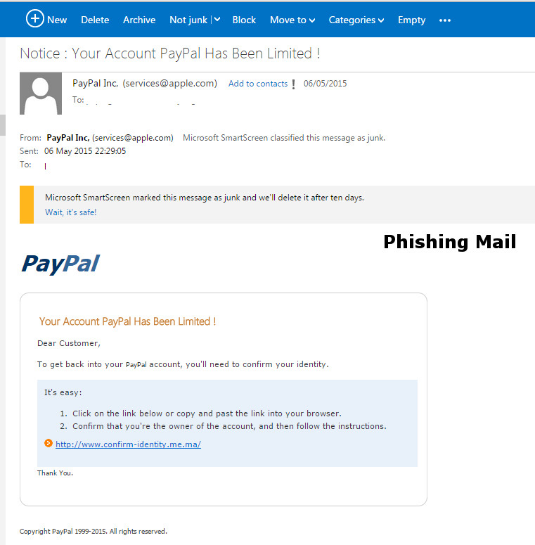 PayPal Phishing Example 2015