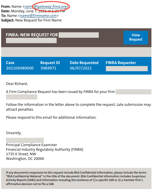 Penalty threats phishing email sample (FINRA)