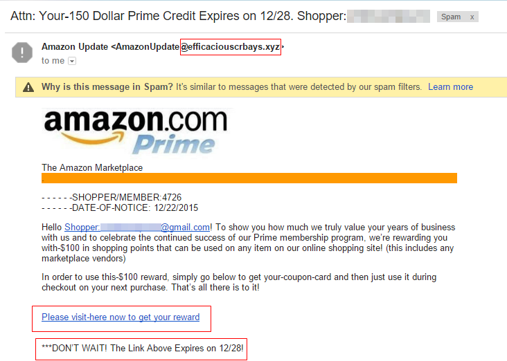 Phishing example - Amazon Prime (22-12-2015)