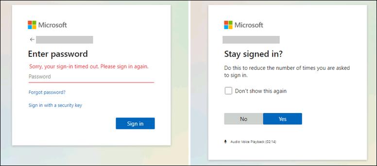 Microsoft phishing Landing Page