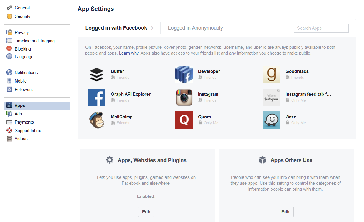 Revoke access to apps linked to your Facebook account