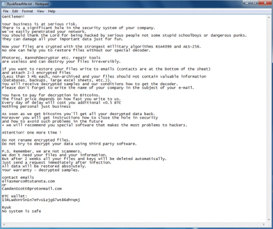 What the Ryuk ransomware note looks like