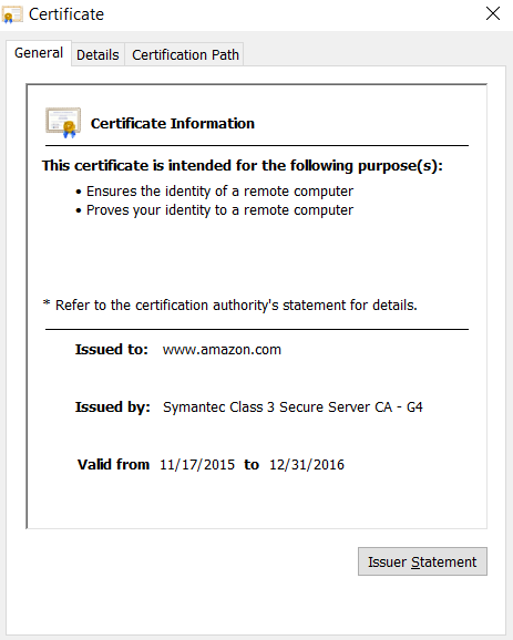 SSL Certificate Amazon