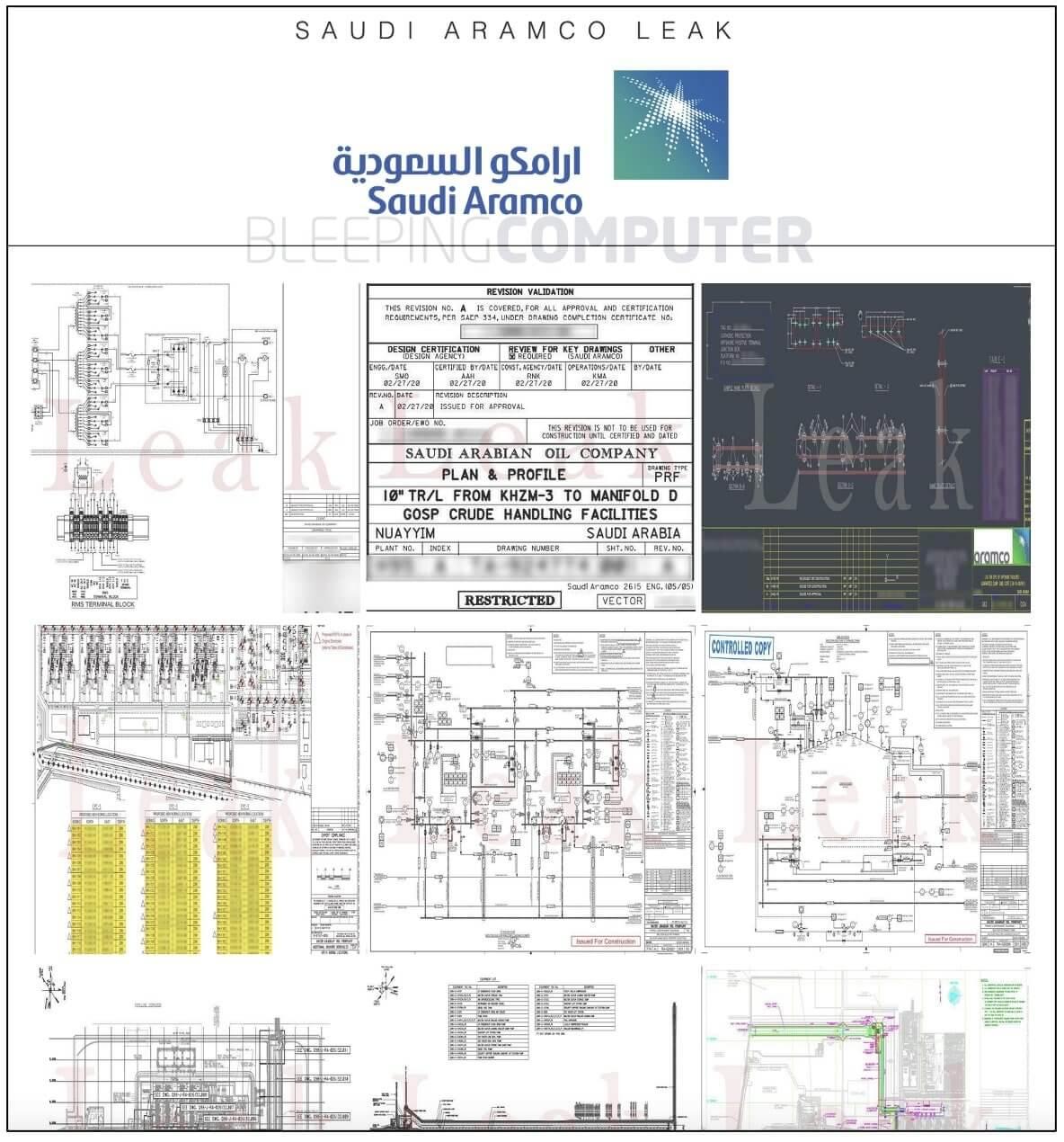Samples of stolen Saudi Aramco data and blueprints shared on leak site