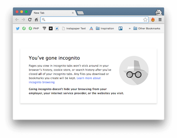 browser incognito message