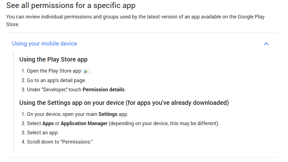 See all permissions for a specific app on Android