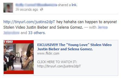 Selena Gomez & Justin Bieber Facebook scam