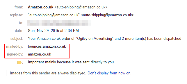 Sent by & Signed by - Amazon & Gmail authentication example (22-12-2015)