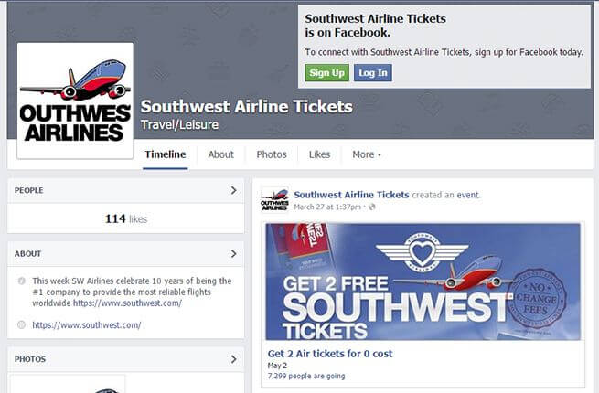 online travel scams facebook southwest scam