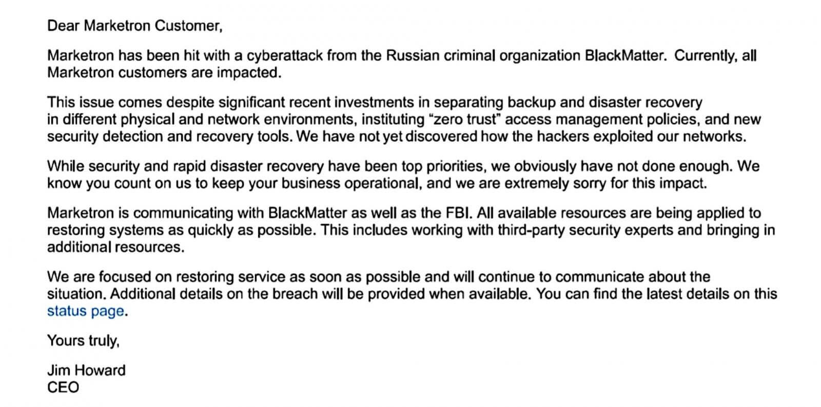 The ransomware dubbed Blackmatter Ceo e-mail