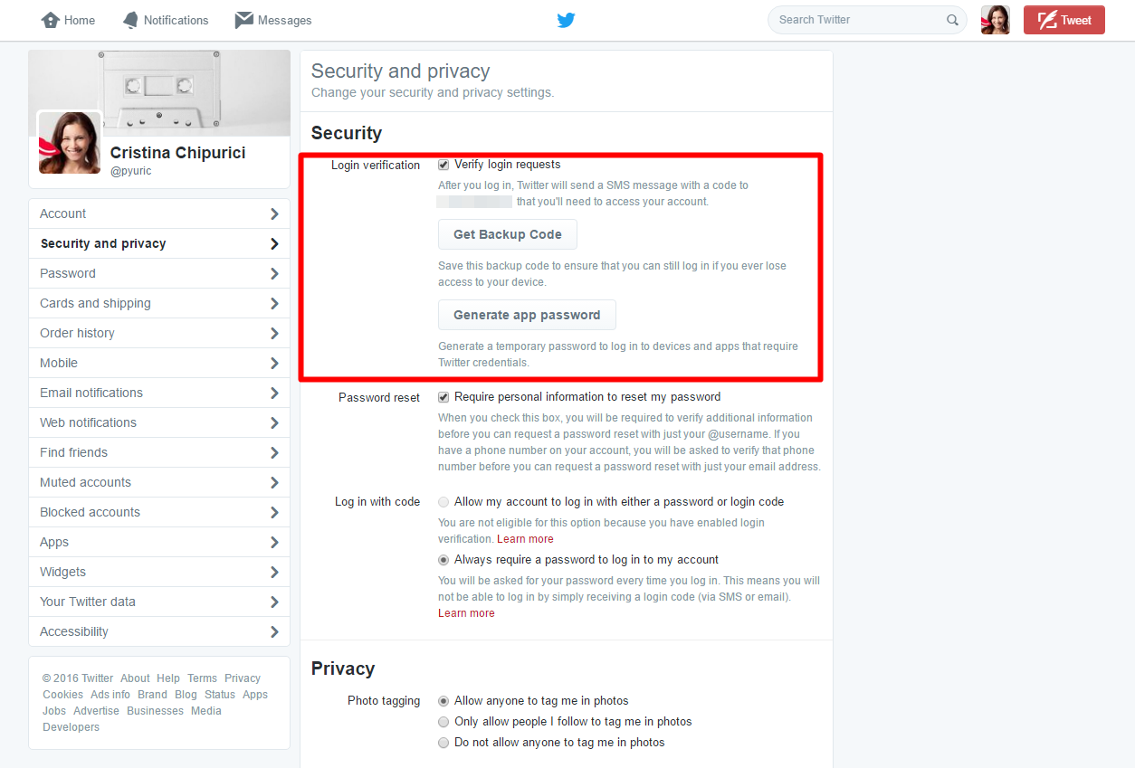 Twitter settings - Login verification