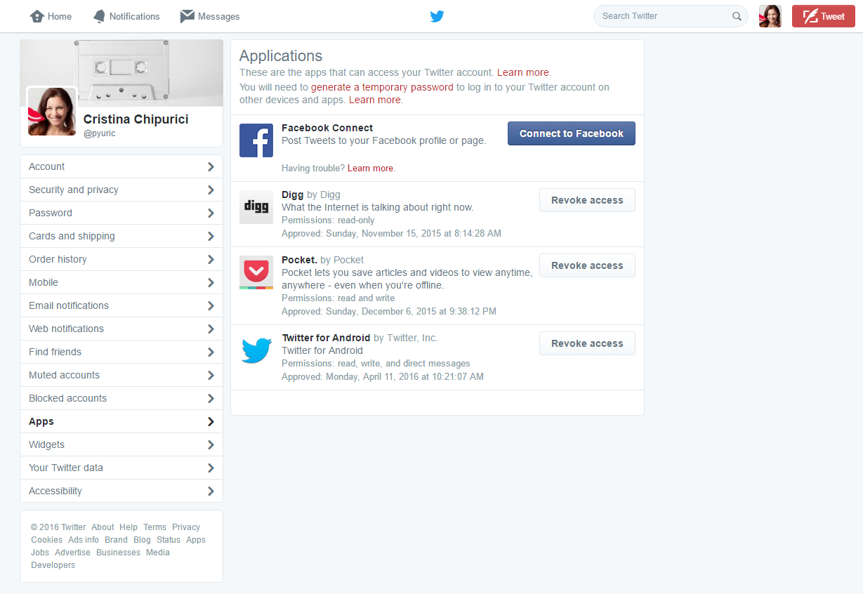 Twitter settings - third party apps