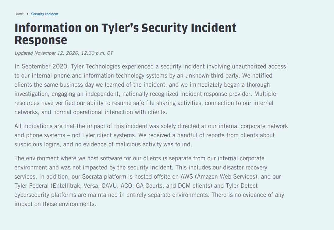 Tyler technologies Ransomware