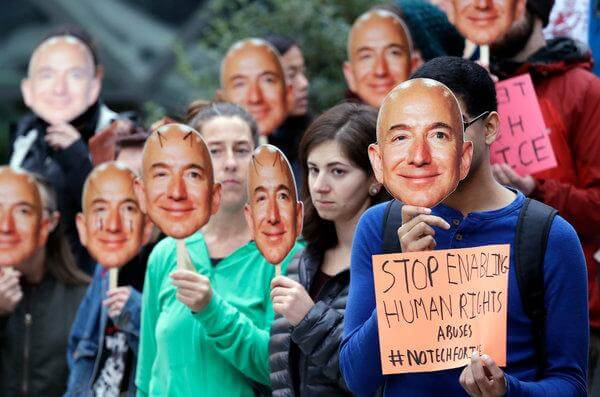 amazon protest against facial recognition software