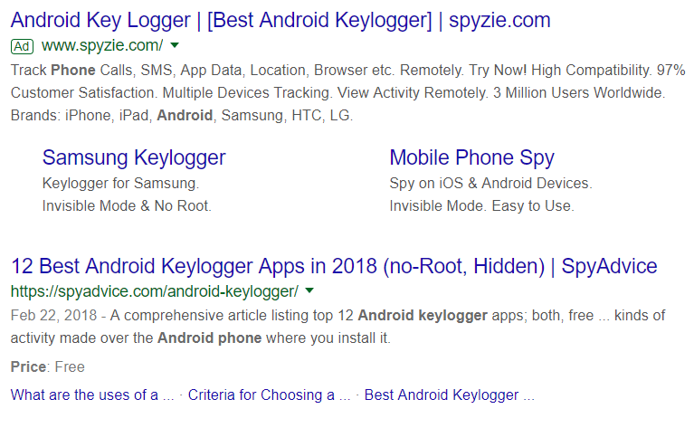 android keylogger advertised on google