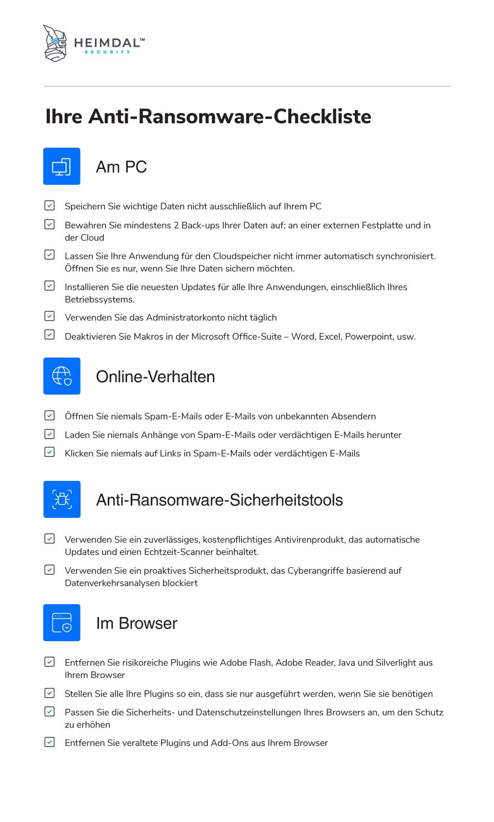 Anti-ransomware Checkliste