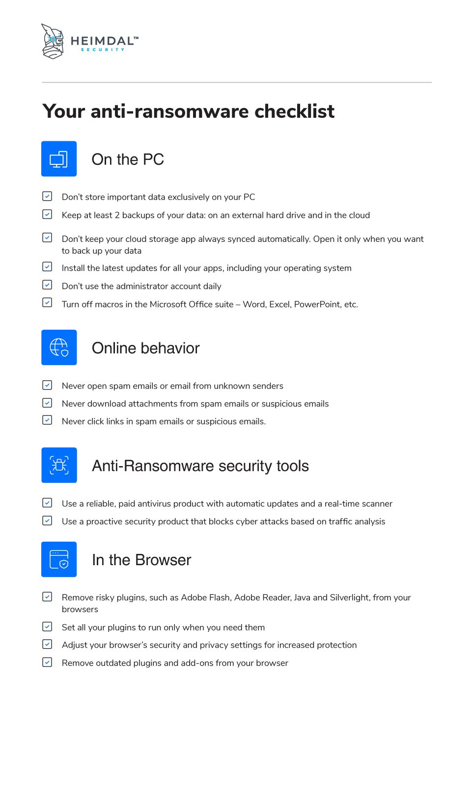 Anti-ransomware Checklist