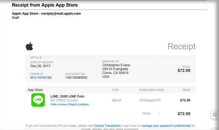 Invoice Example Apple ID Phishing Scams