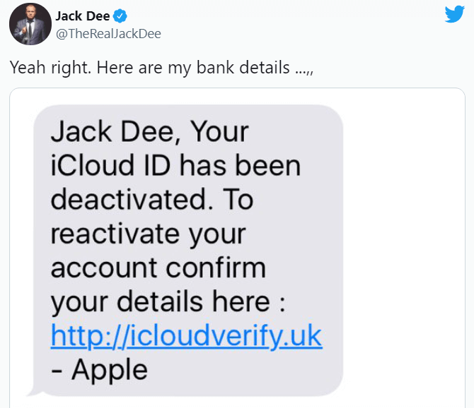 Apple ID Phishing Scam Text Message