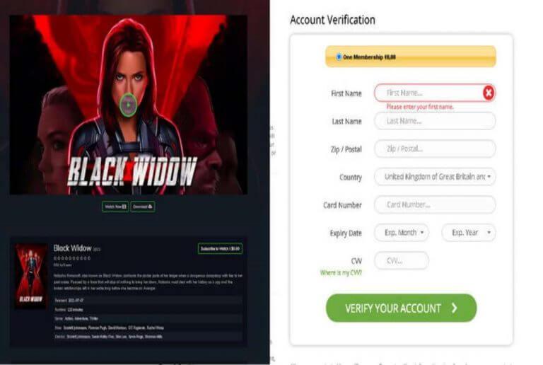 black widow malware scam