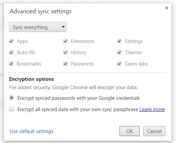 chrome sync settings