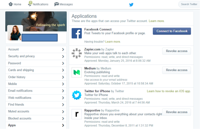 clean twitter app permissions