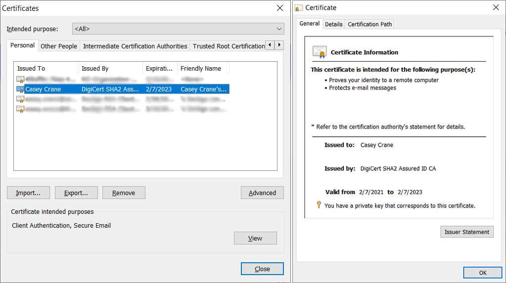 PKI client authentication certificate