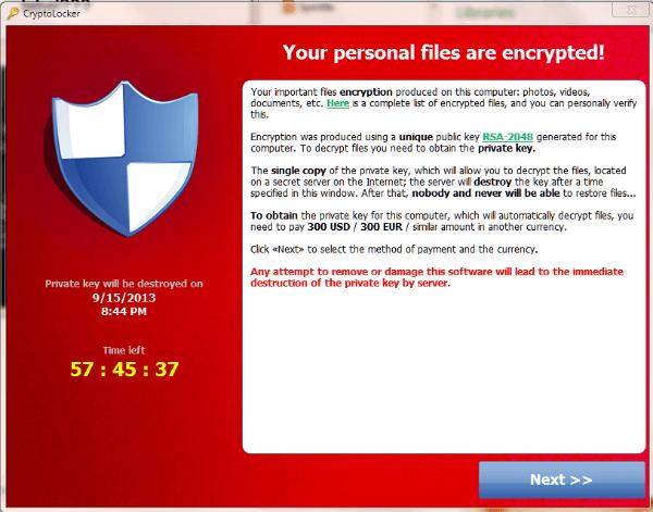 crypto virus example - cryptolocker message
