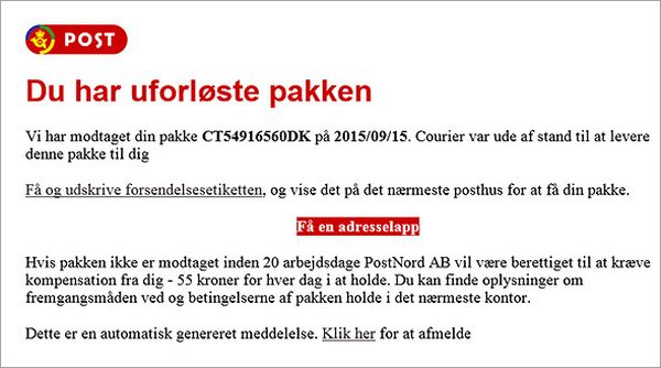 denmark post office scam malware