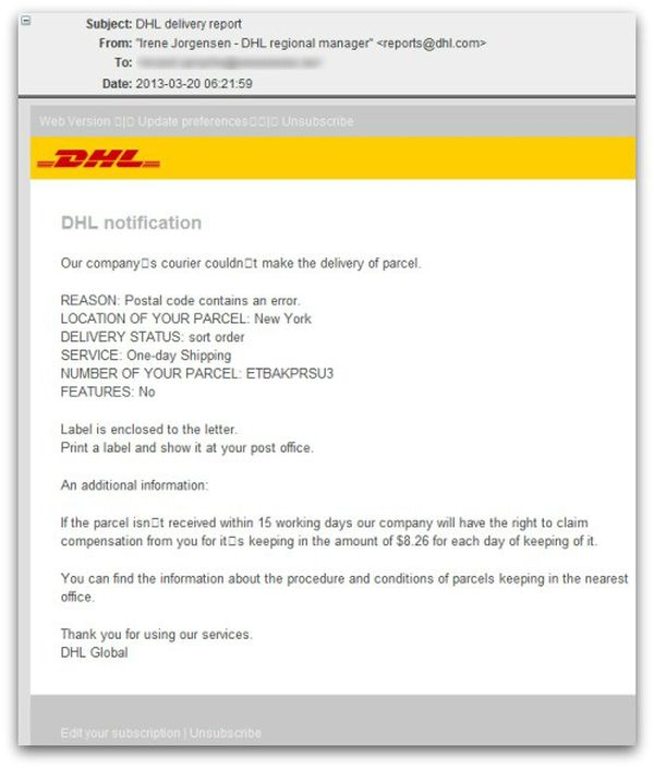 dhl scam malware