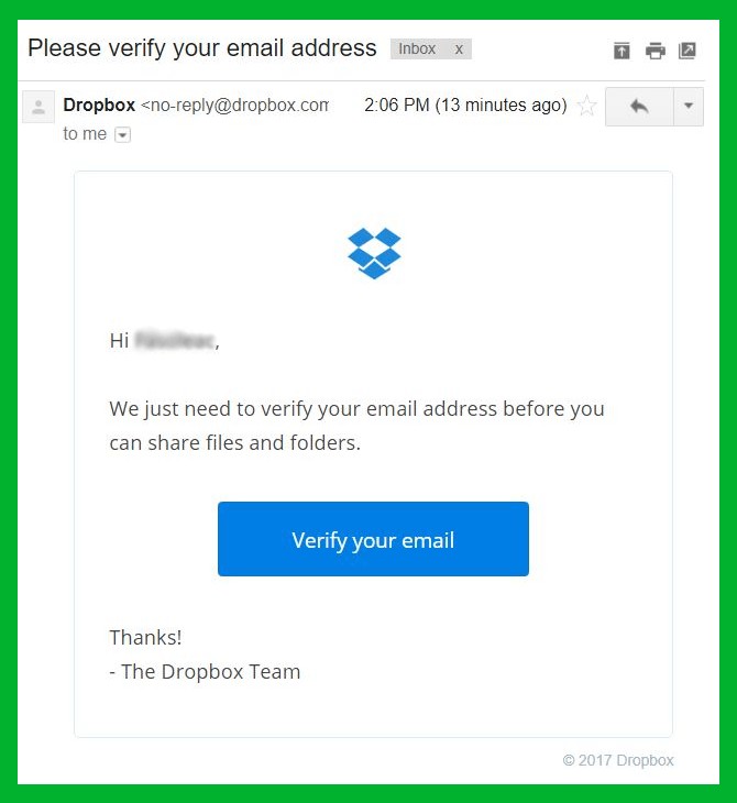 dropbox legitimate email verification example