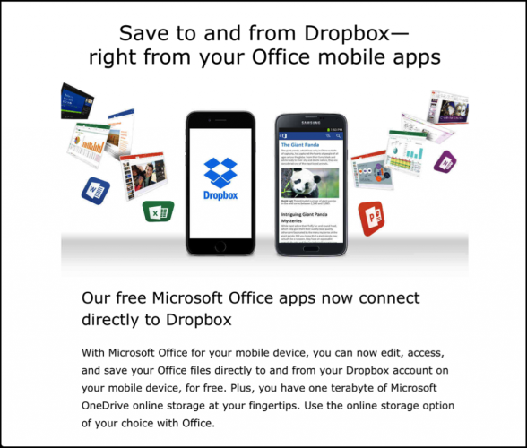 dropbox microsoft office