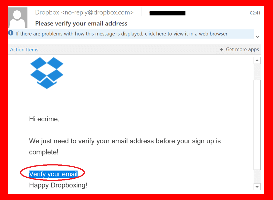 dropbox spoofing email
