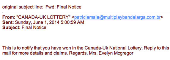 This is an example of a lottery scam