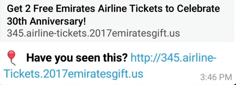 free tickets emirates common airlines scam