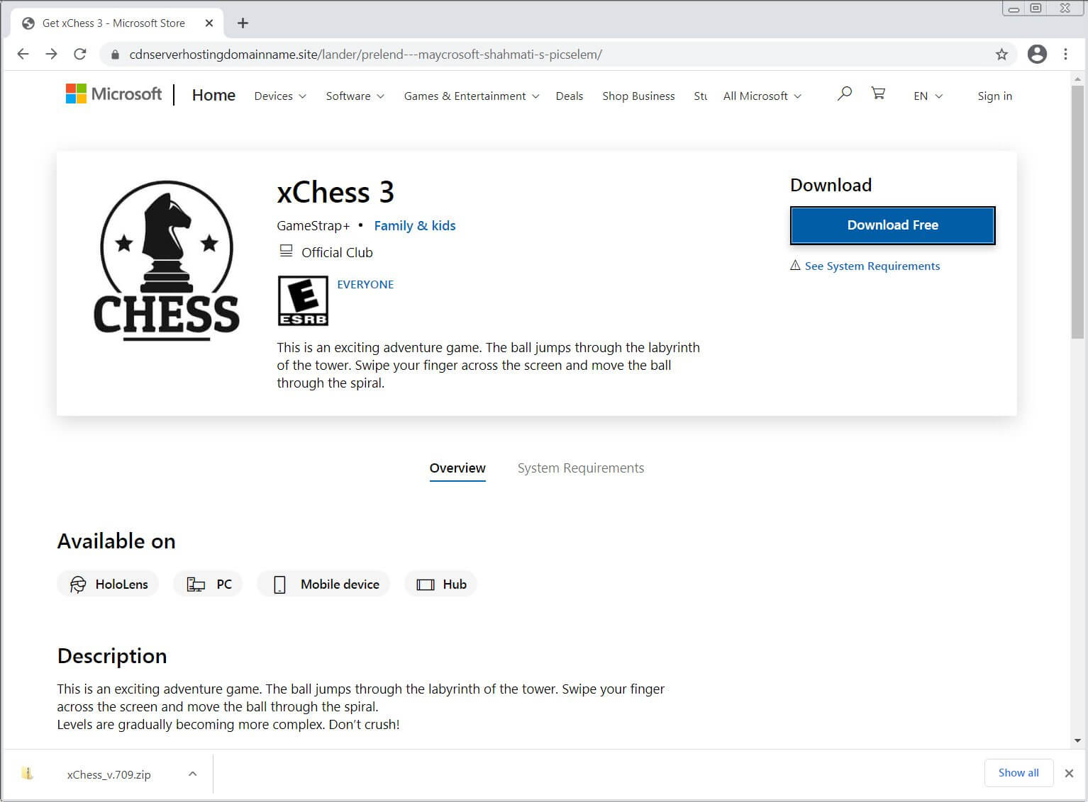 fake microsoft store chess ad heimdal security