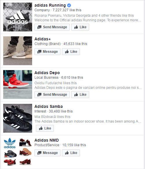 "As a rule of thumb, consider any big brand Facebook page without that  ""verified"" sign to be fake. As a reference, here are the Facebook search  results for "" ..."