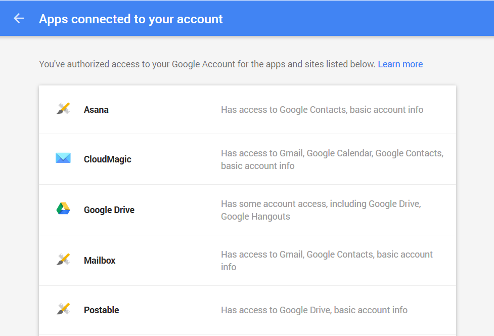 google - apps connected to your account 1