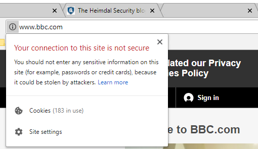google chrome connection not secure phishing prevention