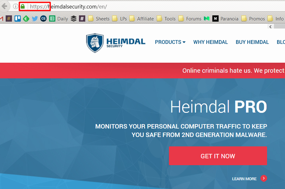 https on the heimdal security website