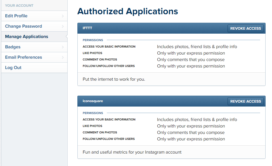 instagram Authorized Applications