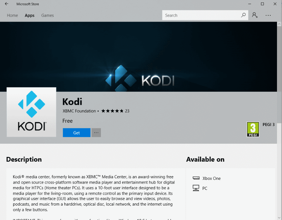 kodi on windows store