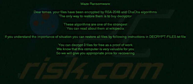 maze ransomware notice
