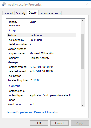 word document metadata