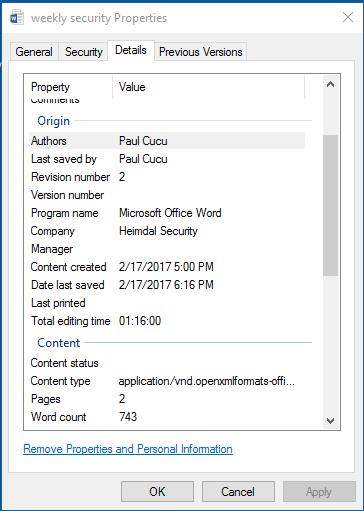 word document metadata