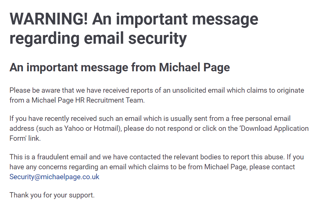 michael page phishing attack heimdal security
