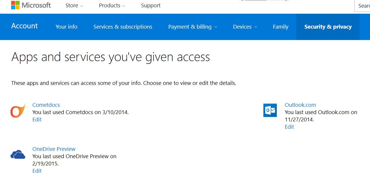 microsoft Apps and services you've given access