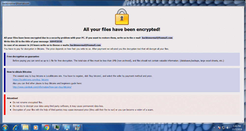 new dharma ransomware strain encryption message backtonormal foxmail