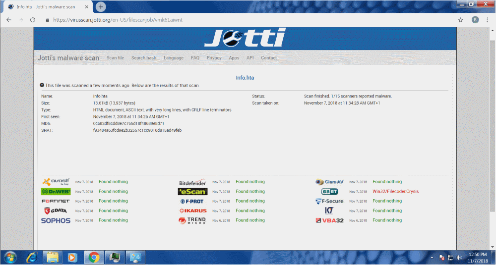 new dharma ransomware strain jotti detection