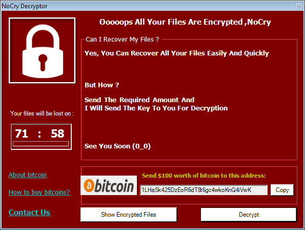 Ransomware pop-up message example